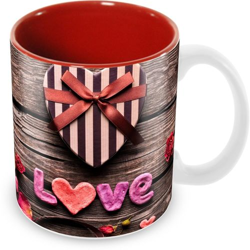 Tuelip Beautiful Love Printed inside Red for Tea And Coffee Ceramic Ceramic Mug(350 ml)