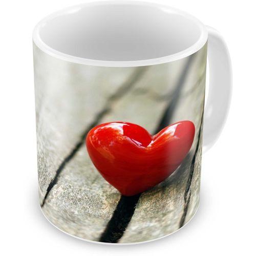 Tuelip Printed Beautiful Red Heart On Wood for Tea And Coffee 350 ml Ceramic Mug(350 ml)