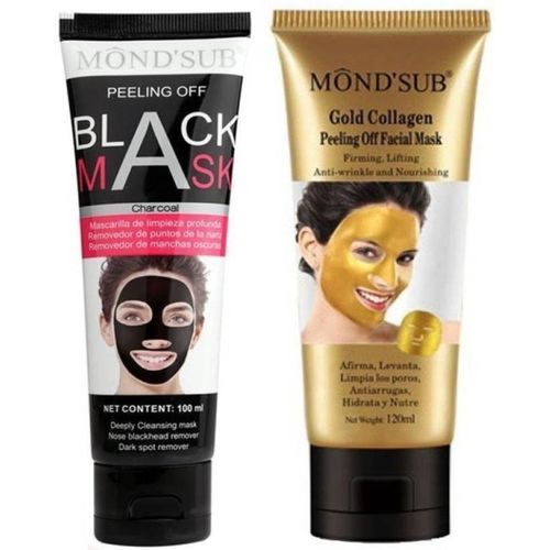 Mondsub BLACK AND GOLD PEEL OFF MASK BLACKHEAD REMOVER WITH ORIGINAL ACTIVATED CHARCOAL (220ML, PACK OF 2)(220 ml)