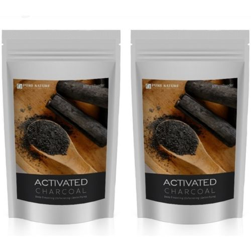 Pure Nature Activated charcoal pack of 2 (100gm each), 100% natural, Best for face and Teeth whitening(200 g)