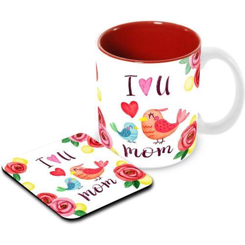 Tuelip Printed Floral Background Birds Tea & Coffee With Tea Coaster Combo (350 ml) Ceramic Mug(350 ml)