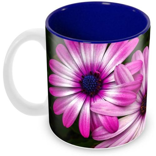 Tuelip Beautiful Pink Flower Pattern Printed inside Blue for Tea And Coffee Ceramic Mug(350 ml)