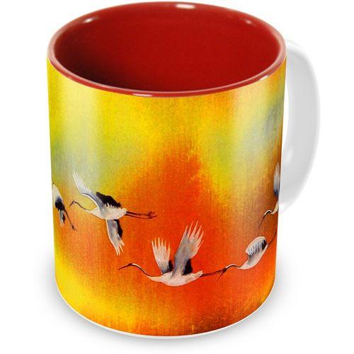 Tuelip Beautiful Flamingo Fly Ceramic 350 ML Printed Ceramic Mug(350 ml)