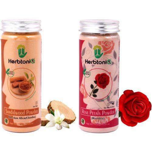 HerbtoniQ 100% Natural Sandalwood Powder (Santalum Album/chandan) And Rose Petals Powder (Rosoideae) For Face Pack And Hair Pack(300 g)