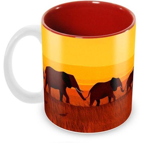 Tuelip Beautiful Unity Of Elephant Printed inside Red for Tea And Coffee Ceramic Mug(350 ml)