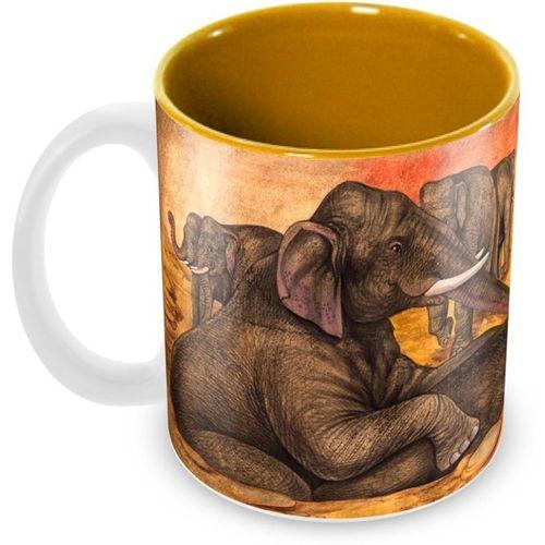 Tuelip Beautiful Look Elephant Printed Inner Yellow For Tea And Coffee Ceramic Ceramic Mug(350 ml)