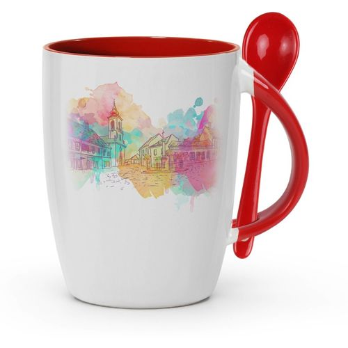 Tuelip Printed Hand drawn old city background for Tea and Coffee Ceramic With Spoon Ceramic Mug(350 ml)