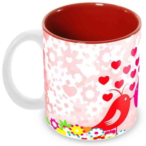 Tuelip Best And Special Valentine Day Gifts love Birds inside Red Designer Printed Tea and Coffee Ceramic Mug(350 ml)
