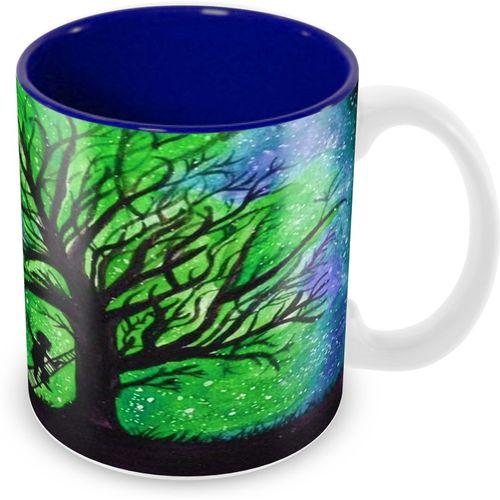 Tuelip Beautiful Watercolor Moon Scenery Printed Cup For Tea & Coffee Ceramic Printed Ceramic Mug(350 ml)