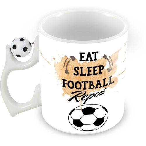 Tuelip Eat sleep football Rotating Football Printed Coffee Ceramic Mug(350 ml)
