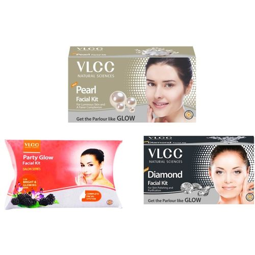 VLCC Original Pearl, Diamond and Party Glow Facial Kit 180 ml(Set of 3)