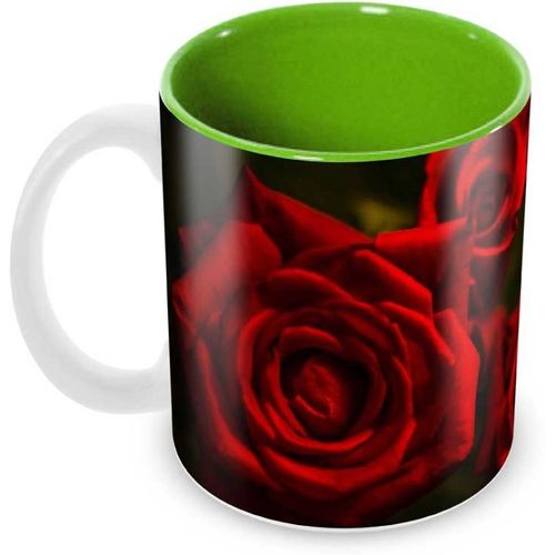 Tuelip Beautiful Thought full Love Gifts for Your Love Inside Green Designer Printed Tea and Coffee Ceramic Mug(350 ml)