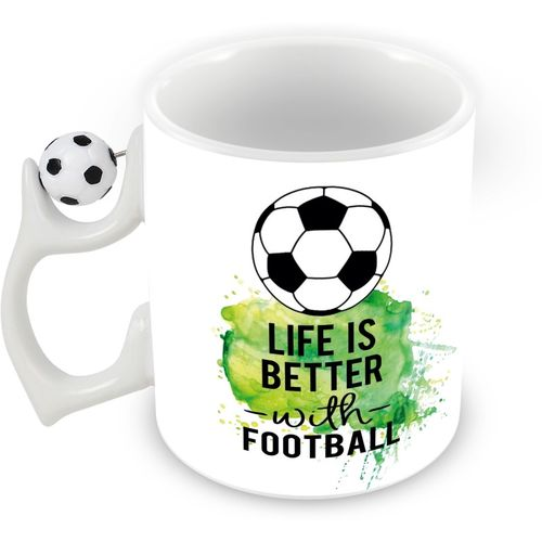 Tuelip life is batter Rotating Football Printed Coffee Ceramic Mug(350 ml)