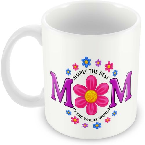 Tuelip Beautiful Colourful Abstract The Best mom Printed For Tea And Coffee Ceramic Mug(350 ml)