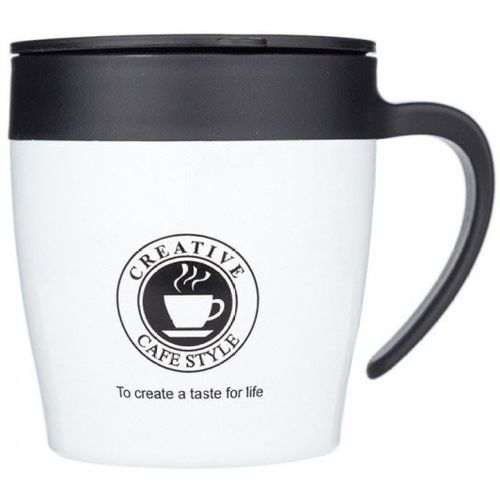 Tuelip Unique Creative Cafe Style Travel With Lid & Spoon Ingenuity Vacuum Insulation Cup Stainless Steel Mug(330 ml)