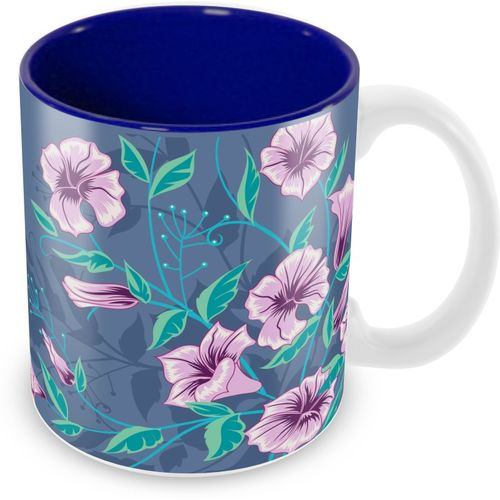 Tuelip Beautiful Purple Colour Flowers Pattern for Tea And Coffee Ceramic Printed (350 ML) Ceramic Mug(350 ml)