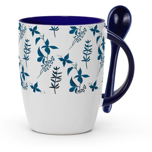 Tuelip Printed Trendy Seamless Floral for Tea and Coffee Ceramic With Spoon Ceramic Mug(350 ml)