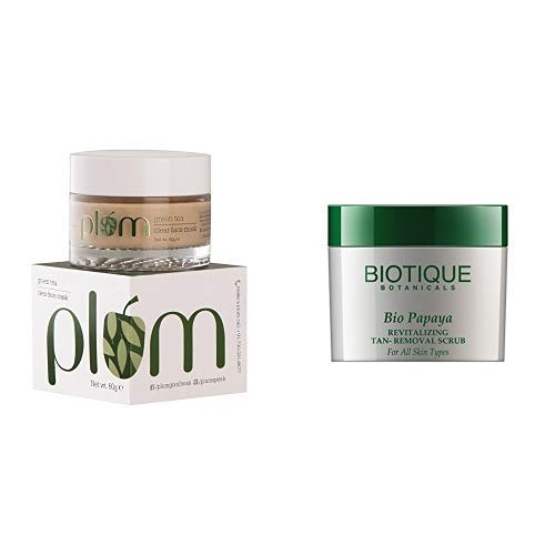 Plum Green Tea Clear Face Mask, 60g and Biotique Bio Papaya Revitalizing Tan Removal Scrub for All Skin Types, 75g