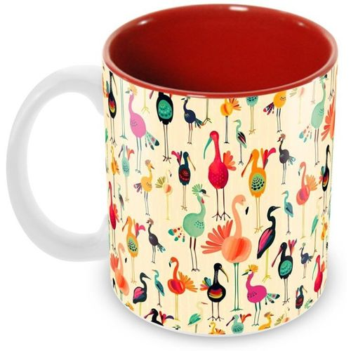 Tuelip Beautiful Printed Flamingo Inner Red For Tea And Coffee Ceramic Mug(350 ml)