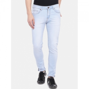 High Star Blue Cotton Slim Fit Mid-Rise Clean Look Stretchable Jeans