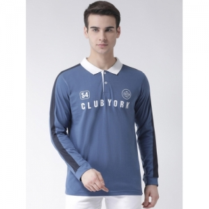 Club York Blue Cotton Printed Polo Collar T-shirt