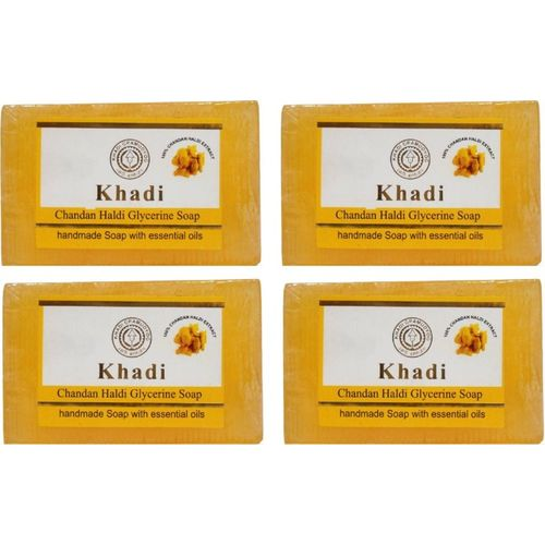 Khadi Herbal HALDI CHANDAN GLYCERINE SOAP-PACK OF 4(125 g, Pack of 4)