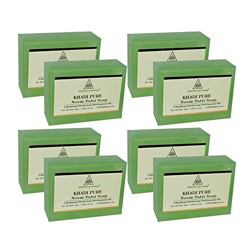 Khadi Pure Herbal Neem Tulsi Soap - 125g (Set of 8)