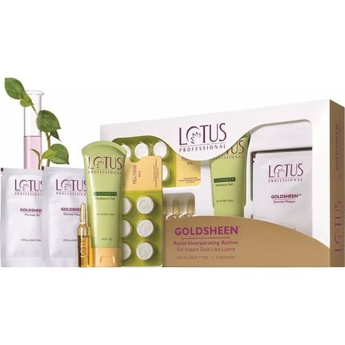 Lotus Professional Lotus Herbals Professional Goldsheen Facial Incorporative Actives For Instant Gold Like Lusture Facial Kit 450 g(Set of 5)