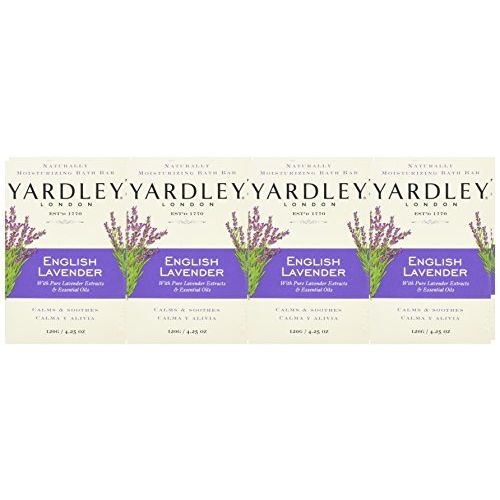 Yardley London Soap Bath Bar English Lavender and Essential Oils, 120g (Pack of 8)