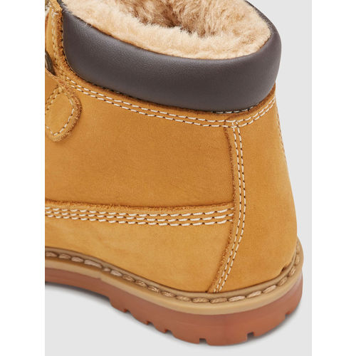 next Boys Yellow Solid Leather Mid-Top Flat Boots