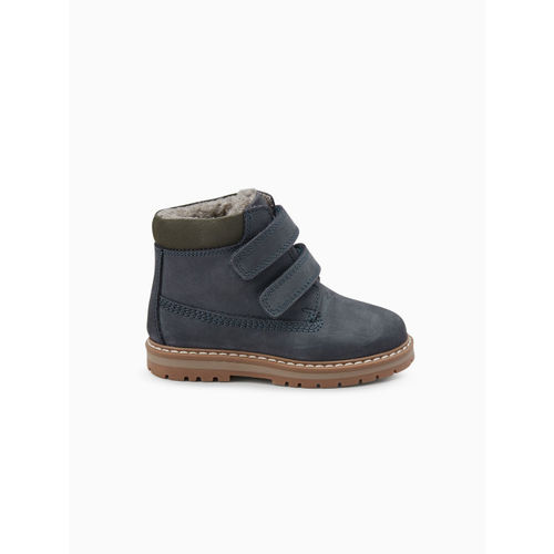 next Boys Navy Blue Solid Leather Mid-Top Flat Boots