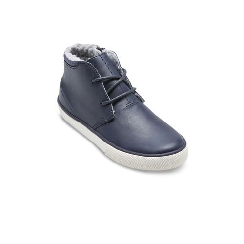 next Boys Blue Solid Synthetic Mid-Top Sneakers