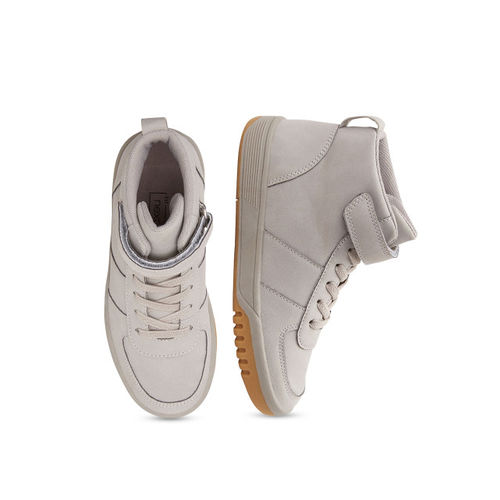 next Boys Grey Solid Synthetic Mid-Top Sneakers