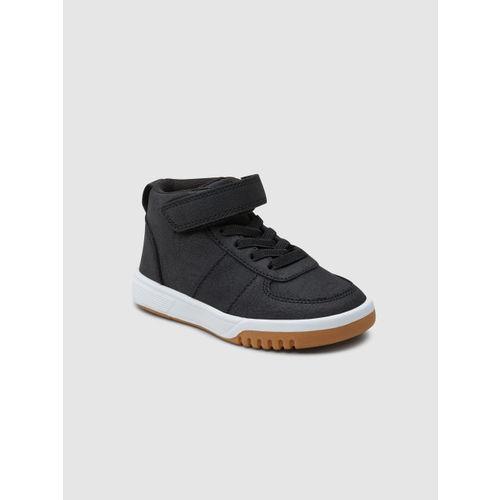 next Boys Black Solid Mid-Top Sneakers