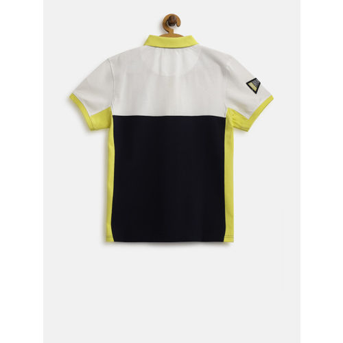 Gini and Jony Boys Navy Blue & White Colourblocked Polo Collar T-shirt