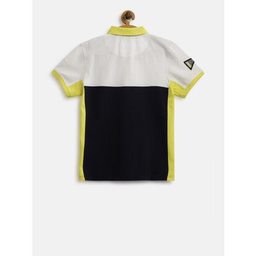 Gini and Jony Boys Navy Blue & White Colourblocked Polo Collar T-shirt