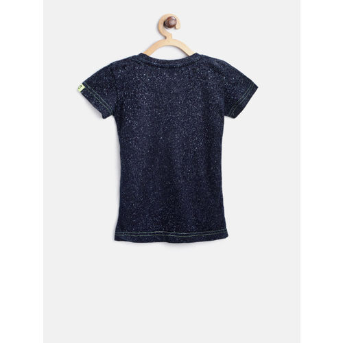 Gini and Jony Boys Navy Blue Printed Round Neck T-shirt