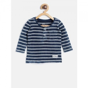 Gini and Jony Boys Navy Blue & Grey Striped Henley Neck T-shirt