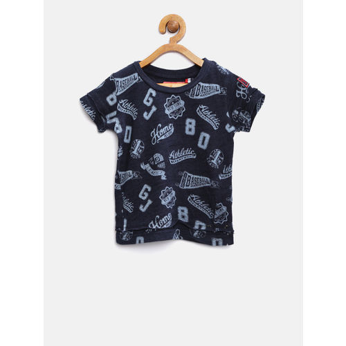 Gini and Jony Boys Navy Printed Round Neck T-shirt