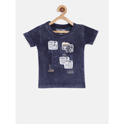 Gini and Jony Boys Navy Blue Printed Round Neck T-shirt