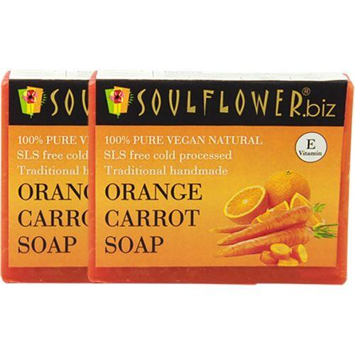 Soulflower Orange Carrot Soap Set of 2(300 g, Pack of 2)