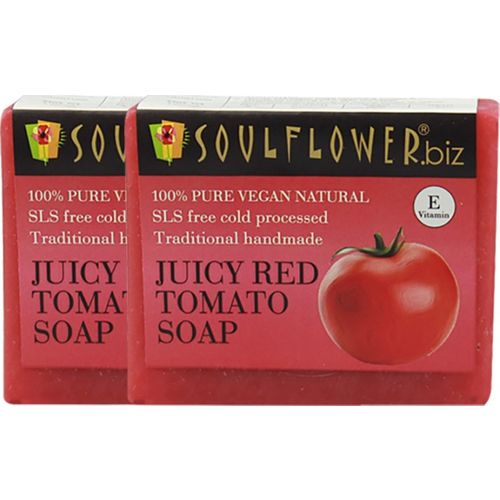 Soulflower Juciy Red Tomato Soap Set of 2(300 g, Pack of 2)