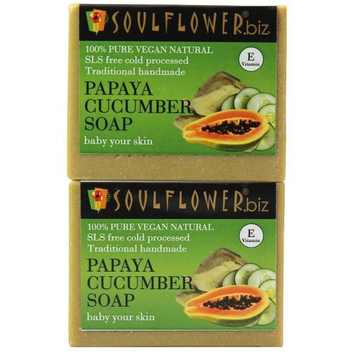 Soulflower Papaya Cucumber Soap Set of 2(300 g, Pack of 2)