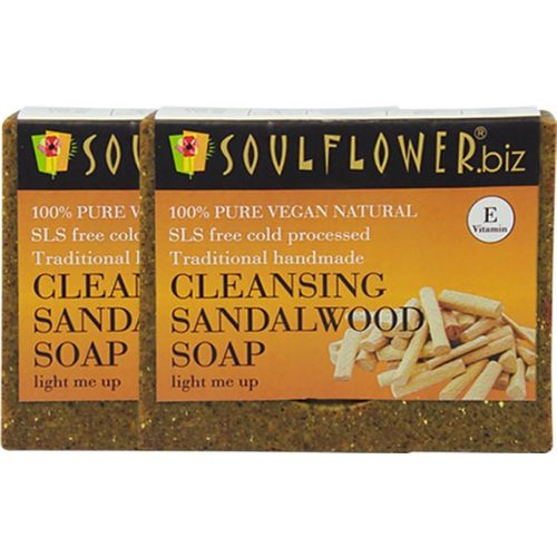 Soulflower Cleansing Sandalwood Soap Set of 2(300 g, Pack of 2)
