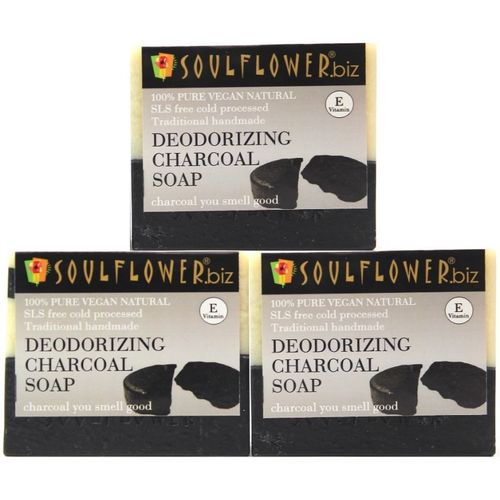 Soulflower Deodorizing Charcoal Soap Regime(450 g, Pack of 3)
