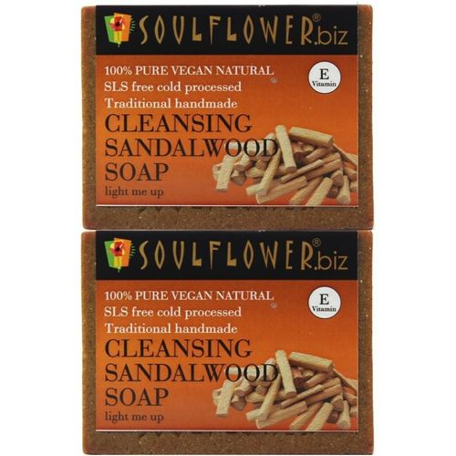Soulflower Cleansing Sandalwood Soap Regime (Light Me Up)(300 g, Pack of 2)
