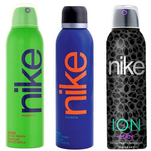 Nike Man Green, Indigo and ION Deodorant Spray for Men 200ML Each (Pack of 3) Deodorant Spray - For Men(600 ml, Pack of 3)
