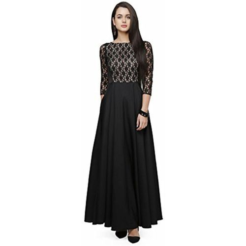 Ethnic star A-line Gown(Black)