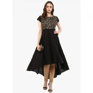MBE Women Block Print Anarkali Kurta(Black)