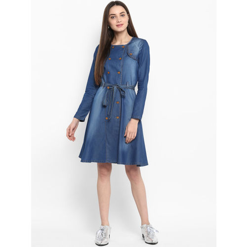 StyleStone Blue Cotton Knee Length Denim Dress with Shoulder Placket